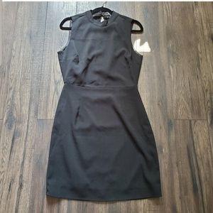 ulu's Black Sheath Dress w Open Back Cape Slit L